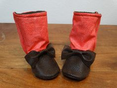 Baby Booties Faux Leather Infant Newborn Toddler by ToastyToesies, $25.00