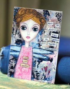 Mixed Media ACEO: Transformation Girl, mini art card, whimsical art, inspirational art, folk art, whimsical girl, pink, black and white