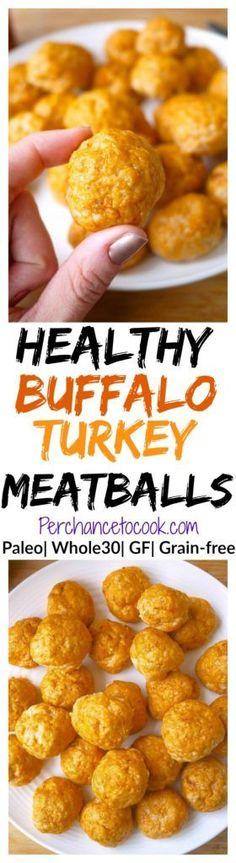 Healthy Buffalo Turkey Meatballs (Paleo, GF) - Perchance to Cook Healthy Recipes - recipes Healthy Recipes, Healthy Drinks, Healthy Cooking, Whole Food Recipes, Healthy Snacks, Cooking Recipes, Recipes Dinner, Loaf Recipes, Paleo Turkey Meatballs