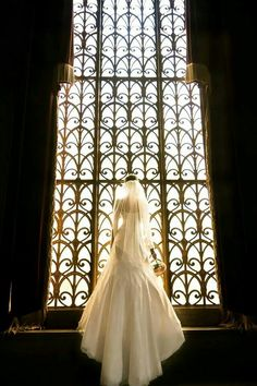 Bridal portrait taken in Armstrong Browning Library