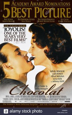 Download this stock image: CHOCOLAT, US poster art, from left: Johnny Depp, Juliette Binoche, 2000. © Miramax Films/ Courtesy: Everett Collection - E5MB0A from Alamy's library of millions of high resolution stock photos, illustrations and vectors: Image 16: Alamy: pin 21. See Movie, Film Movie, Top Movies, Movies And Tv Shows, Image Internet, Juliette Binoche, Johnny Depp Movies, I Love Cinema, Movies Worth Watching
