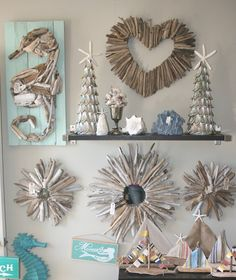 Beachy decor MerMade designs newport beach MUUUUUUUST MAKE THE SEAHORSE!!!  AND MAYBE THE MIRRORS BUT BIGGER AND WITH SEAGLASS AND SHELLS ON IT