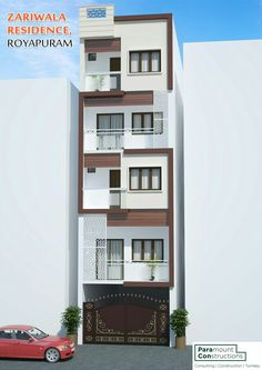 3 Storey House Design, House Front Design, Building Elevation, House Elevation, Minimalist House Design, Minimalist Home, Ashok Kumar, Front Elevation Designs, Everyday Prayers
