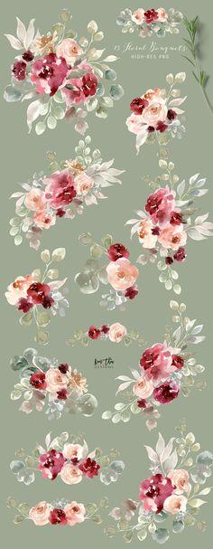 Bohemian Burgundy & Dusty Rose by Kim Thoa Designs on @creativemarket