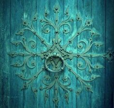 Teal door - The Magic Faraway Tree Old Doors, Windows And Doors, Tiffany Blue, The Magic Faraway Tree, Door Knobs And Knockers, Shades Of Turquoise, Turquoise Door, Teal Door, My Favorite Color