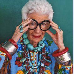 Iris Apfel. LOVE HER!!!
