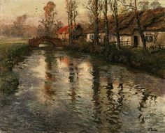 Cottages along a river, Normandy, ca 1897, Frits Thaulow. Norwegian (1847 - 1906)