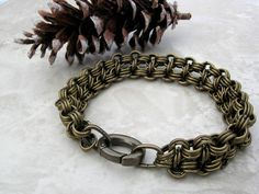 Gift for Him Men's Chain Bracelet Unisex Chainmaille by Arret, $45.00