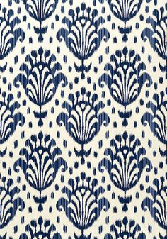 Thai Ikat wallpaper in navy on off-white from the Jubilee collection. Thibaut
