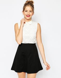 Image 1 of ASOS Dress with Lace Top and Collar