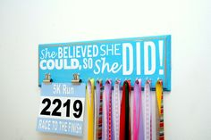 She believed she could so she did rustic running medal holder - race medal display - running medal holder - race bib holder - rustic race by UntamedBranches on Etsy