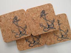 Ahoi Matrose: Maritime Untersetzer aus Kork / cute little table mats made of cork, anchor by Foerdekiste via DaWanda.com
