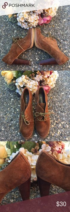 BCBGeneration Lace Up Suede Camel Brown Oxford 💕💕Just perfect for this weather. Look hip with this oxford style lace up. with wooden heels. In great condition. With some minor flaws (see above pics). the distressed look gives it a boho vintage appeal. Sharing the love💕💕 BCBGeneration Shoes Lace Up Boots