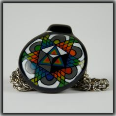 Heady Hunter Borosilicate Glass Art Gallery   Tony Fusco Geometric Disc Flip Pendant (A)