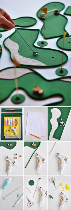 de la feutrine verte + du fil chenille verte + des mélangeurs à cocktail + des billes + des pics à brochette = UN MINI-GOLF DE TABLE / Tabletop Mini Golf | Oh Happy Day!