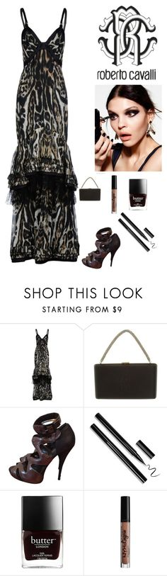 """""""Animal Print gown"""" by kotnourka ❤ liked on Polyvore featuring Roberto Cavalli and NYX"""