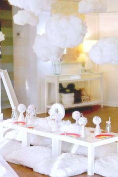 Take a look at this wonderful 'cloud 9' themed sleepover birthday party! The party decorations are gorgeous! See more party ideas and share yours at CatchMyParty.com