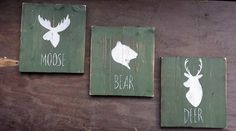 Woodland Nursery Decor Moose Bear and Deer by RusticLuvDecor