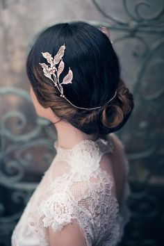 Leafy half-halo in Blush from Cherished, Nature's Diadem collection 2016. Could have something like this for headpiece; or similar leaves but in a crown shape?