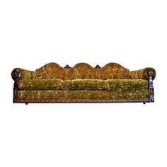 Chairish / Gothic mid-century crushed green velvet sofa by Dirty Girls Restoration