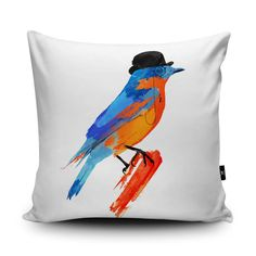 Bird Pillow, Bird Cushion, Comedy Cushion Cover, Funny Bird Illustration, Modern Robin cushion, Garden, 45cn Suede Cushion