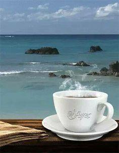 Coffee at the Beach Coffee Is Life, I Love Coffee, Hot Coffee, Coffee Mugs, Good Morning Coffee, Coffee Break, Tea And Books, Coffee Photos, Turkish Coffee