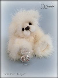 Mink Artist Teddy Bear. Collectable bear. Artist Helen Gleeson. Bare Cub Designs collection - Kandi