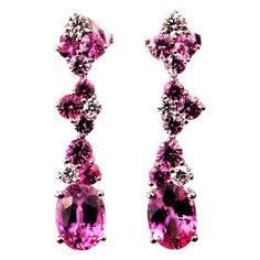 Mark Patterson Pink Sapphire Diamond Gold Dangle Earrings | From a unique collection of vintage dangle earrings at https://www.1stdibs.com/jewelry/earrings/dangle-earrings/