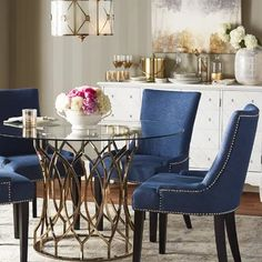 Get inspired by Glam Dining Room Design photo by Joss [AMP] Main. Wayfair lets you find the designer products in the photo and get ideas from thousands of other Glam Dining Room Design photos. Dining Room Blue, Dining Table In Kitchen, Dining Room Design, Dining Rooms, Dining Sets, Navy Blue Dining Chairs, Pink Chairs, Dining Tables, Dining Area