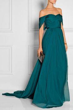 Marchesa dark teal blue silk-chiffon off-the-shoulder gown with pleated sculpted bodice my absolute favorite color! Marchesa, Evening Dresses, Prom Dresses, Formal Dresses, Teal Dresses, Dark Teal Bridesmaid Dresses, Teal Dress For Wedding, Blue Wedding, Bridesmaids