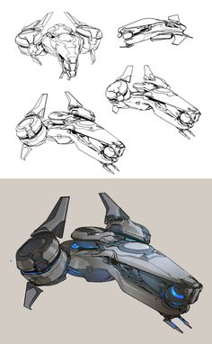 Halo 5- Phaeton preliminary sketches, sparth . on ArtStation at https://www.artstation.com/artwork/gPeXG