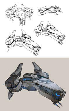 Halo 5- Phaeton preliminary sketches, sparth . on ArtStation at https://www.artstation.com/artwork/gPeXG
