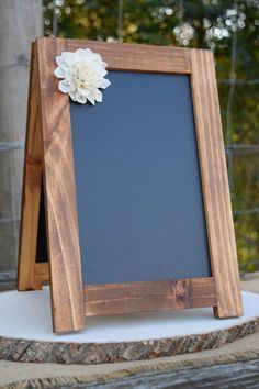 2 Sided Self Standing 8x10 Chalkboard with Sola Flower