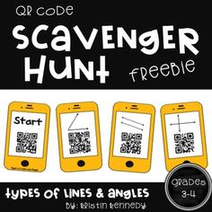 QR code scavenger hunts can be used for review, for early finishers, or to challenge your higher students.  Print, laminate, and hang the phones up around your room.  Students find the phone that says Start and scan the QR code to reveal the first question.