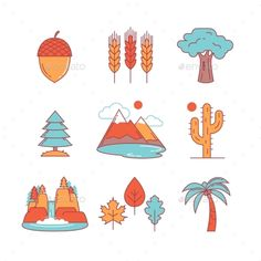 Nature And Forest Thin Line Icons Set