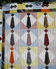 Mike's Neck Tie Quilt - Upper Left by BGMom1, via Flickr