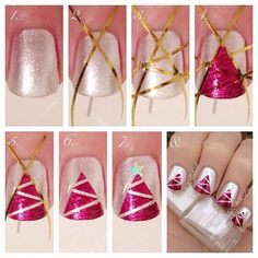 Instagram / newlypolished | Christmas nail art tutorial | step by step Christmas nails