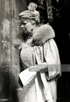 21st May 1937, HM,Queen Mary, pictured at the Royal Albert Hall after attending a coronation party for children, Queen Mary, (1867-1953) born Mary of Teck, was the Queen Consort of King George V