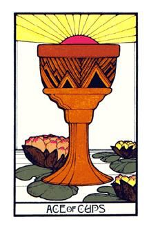 Ace of Cups - The Aquarian Tarot Deck. Artist: David Palladini, published by Morgan Press, 1970. Art Deco Style