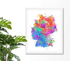 Germany Watercolor Map 1 Art Print Poster Wall Art by ZuzisStudio