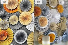 Buy or DIY? 10 Pretty Pieces of Paper Decor via Brit + Co.  Rosette backdrop.