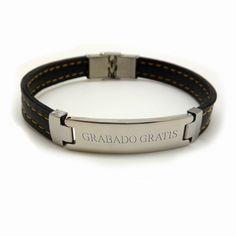 #Pulsera de #polipiel y #acero / #Imitation #leather #bracelet
