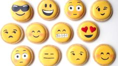 Your favorite emoji icons turned into cookies. You may now literally bite the cuteness out of these adorable cookies. Iced Cookies, Cute Cookies, Cupcake Cookies, Sugar Cookies, Minion Cookies, Valentine Cookies, Cupcakes, Valentines, Cookie Icing