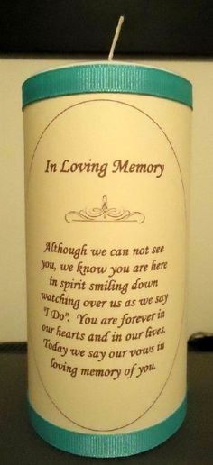memory candle that will be lit ceremony to remember those that are with the couple in spirit on the special day.
