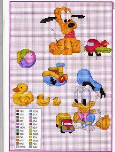 Disney Babies 45 - Paperino e Pluto Disney Stitch, Disney Cross Stitch Patterns, Cross Stitch Designs, Cross Stitch Baby, Cross Stitch Charts, Cross Stitching, Cross Stitch Embroidery, Disney Babys, Stitch Cartoon