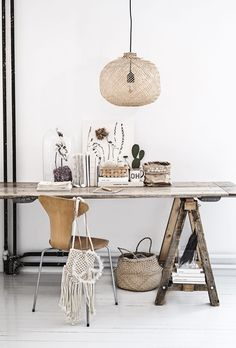 organic work space with Arne Jacobsen chair and Bloomingville pendant light | wabi-sabi style