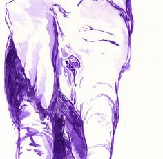 Purple Ink elephant young art pen and ink 5x7 by dragonflypoppy, $35.00