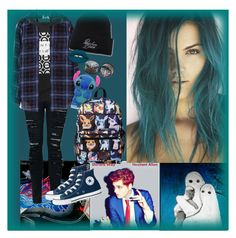 """""""Teal/Blue Babe"""" by chemicalfallout249 ❤ liked on Polyvore featuring Equipment, Miss Selfridge, Lime Crime and Converse"""