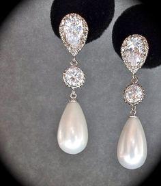 Bridal Jewelry - Pearl earrings - Sterling Silver - Long - pearl drop earrings - Brides earrings - Formal jewelry -