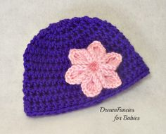 Free US Shipping.  Crocheted Baby Girl Hat, Purple & Pink, Newborn Beanie, Baby Girl Photo Prop, Baby Gift by dreamfancies on Etsy